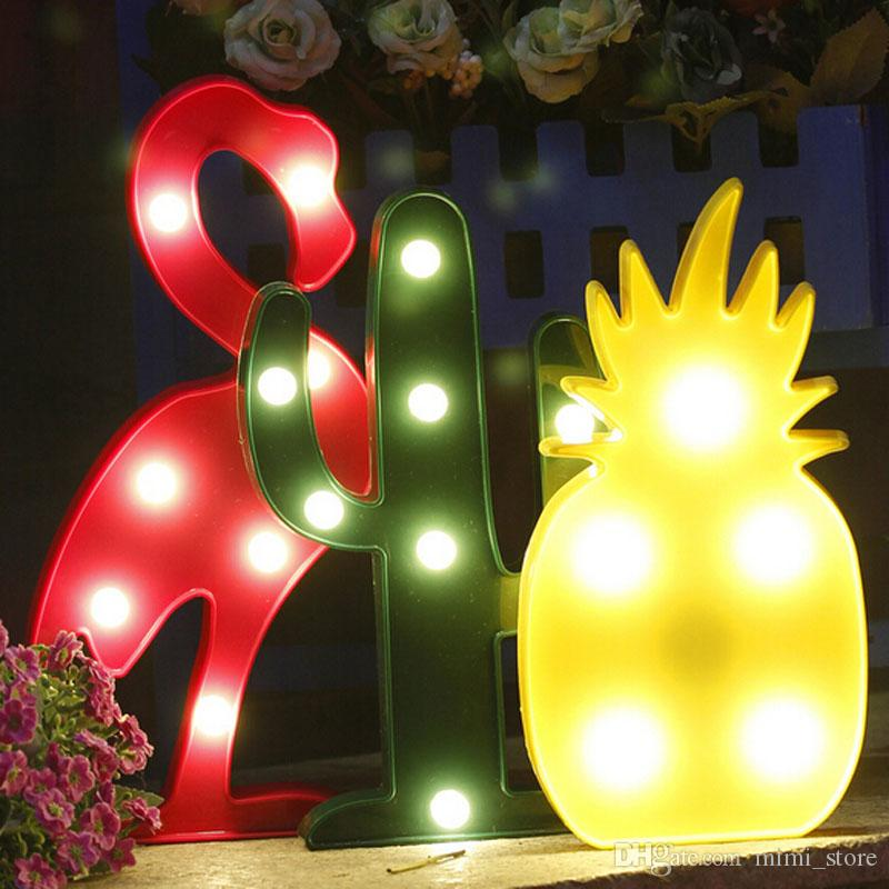 led table light flamingo pineapple lamp romantic table lamp marquee home christmas decor battery led nightlight from mimistore dhgatecom - Pineapple Lamp