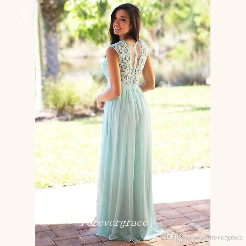 Elegant Mint Long Bridesmaid Dress Cheap Chiffon Lace Top Maid of Honor Dress Wedding Guest Gown Custom Made Plus Size