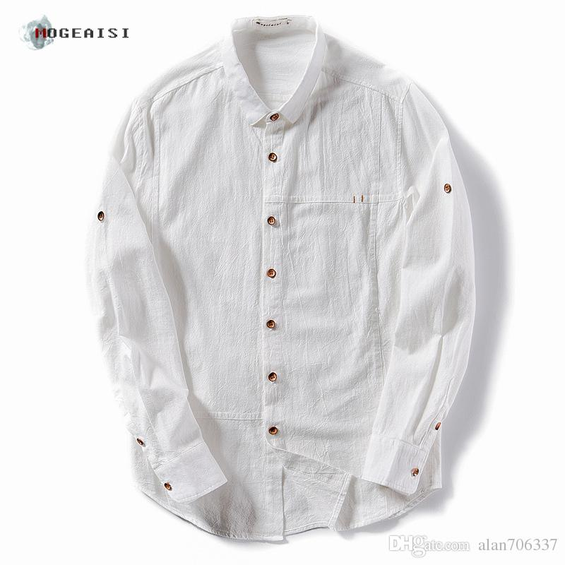 Men's Cotton Linen Shirts Rolled Sleeves Summer Solid Cotton Shirt ...