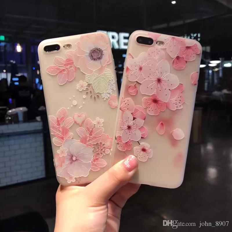 for iphone 7 7plus 6 6s plus case cover fashion silicone 3d relieffor iphone 7 7plus 6 6s plus case cover fashion silicone 3d relief beautiful flower tpu soft shell phone cases cell phone case wholesale clear cell phone