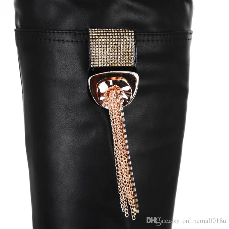 preto mulheres marrom botas novas chegam super alto plataforma toe redonda sobre as botas no joelho de bling deslizamento em carregadores das senhoras