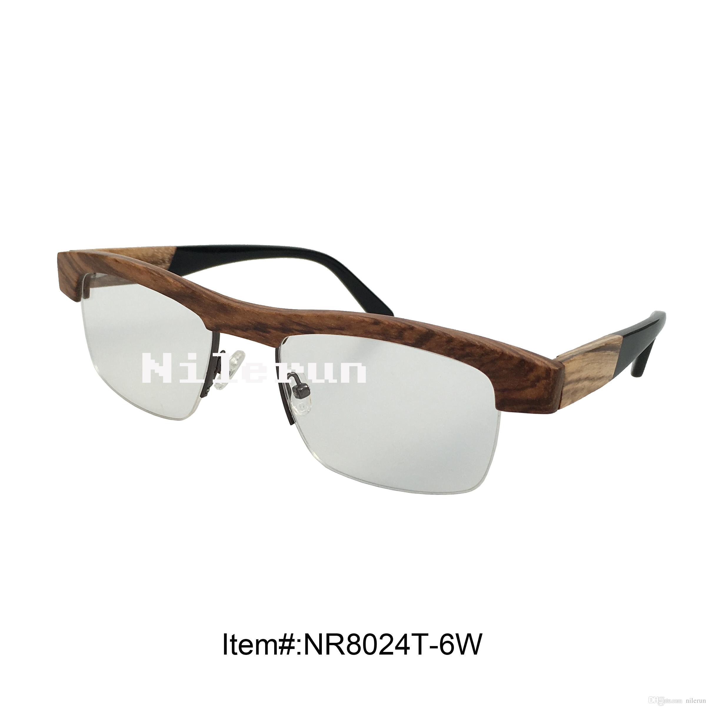 Fashion Half Frame Zebra Wood Optical Eyeglasses Eye Glass Frames ...