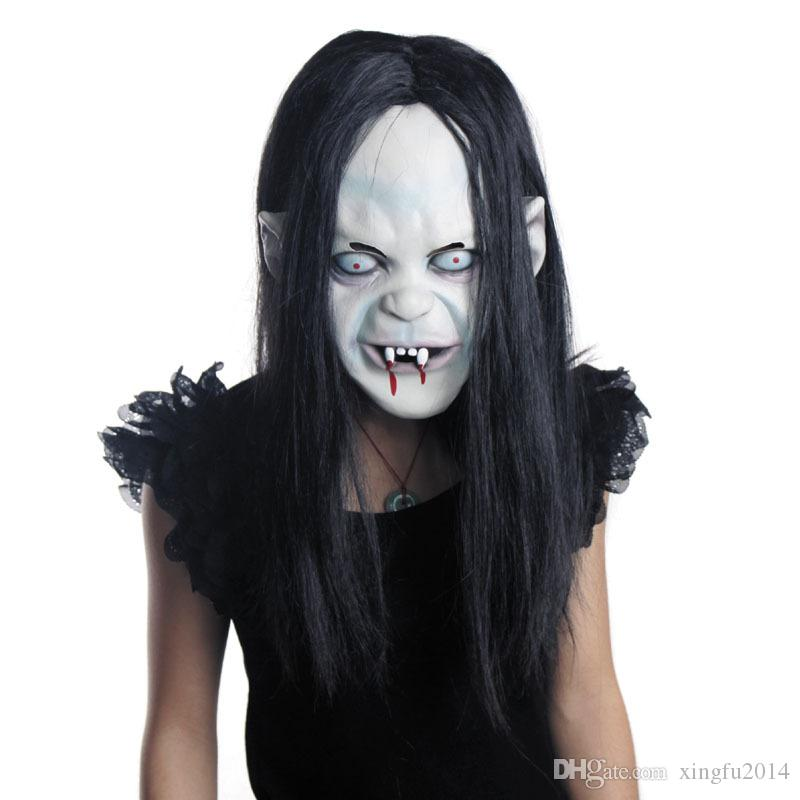Halloween Curse Ghost Mask Maschera horror Capelli neri Zombie Orribile Creepy Toothy Ghost Mask