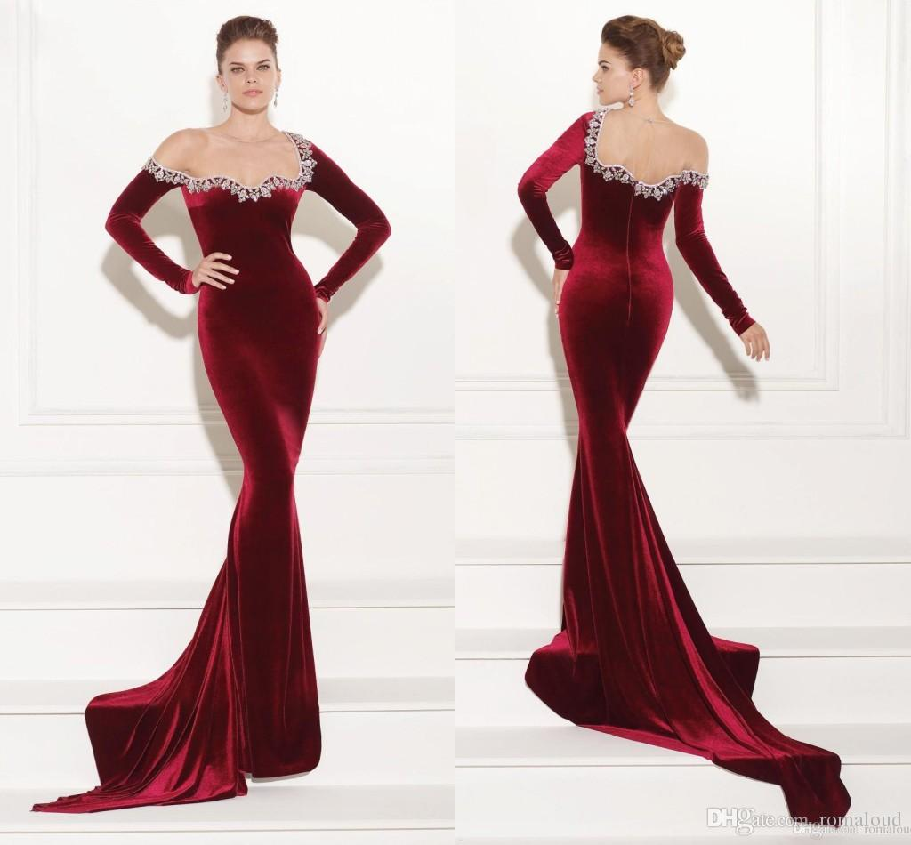 2017 New Dark Red Velvet Mermaid Prom Dresses Evening Gowns Long ...