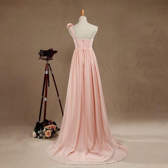 Blush One Shoulder Bridesmaid dress Hand Flower Evening Gown Long Chiffon Cocktail dress Womens A line Prom dress Floor Length