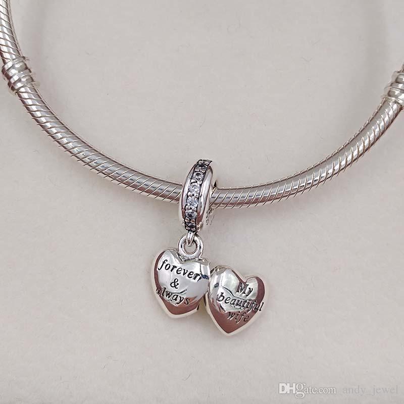 Valentinstag 925 Sterling Silber Perlen meine schöne Frau Charme passt europäischen Pandora Style Schmuck Armbänder 791524CZ heißes Valentinstag Geschenk