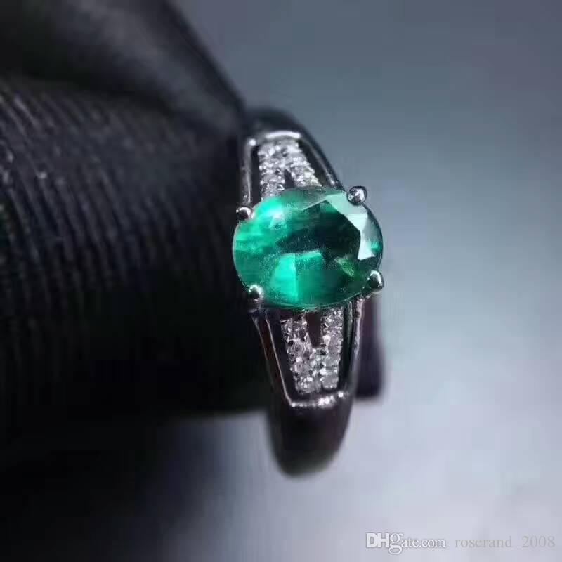 Whosesale Natural Green emerald 925 Sterling Silver with 18KT Gold Plated Ring Genuine Gemstone Fashion Jewelry for Women