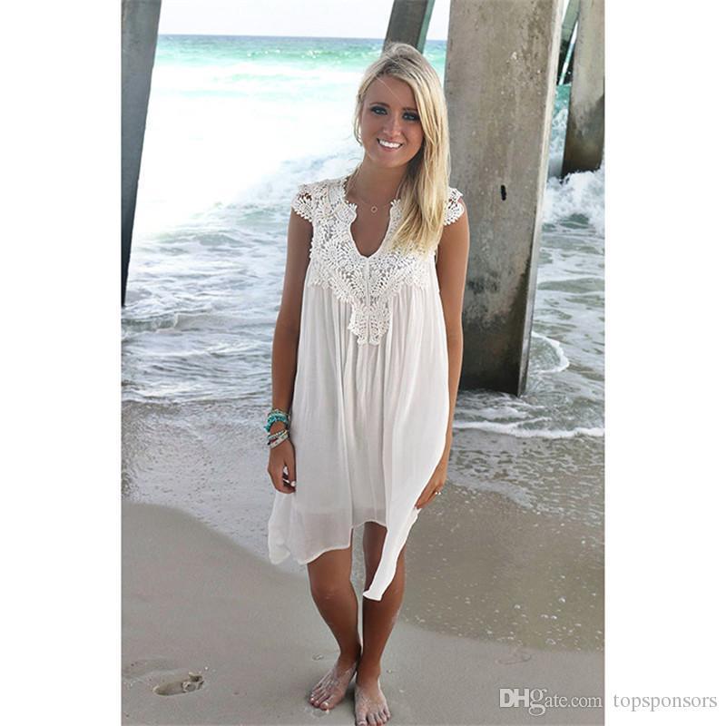 d98c5ab79646 Boho Style Women Lace Dress Summer Loose Casual Beach Mini Swing Dress One  Piece Playsuits Chiffon Bikini Cover Up Womens Clothing Sun Dress Dresses  ...