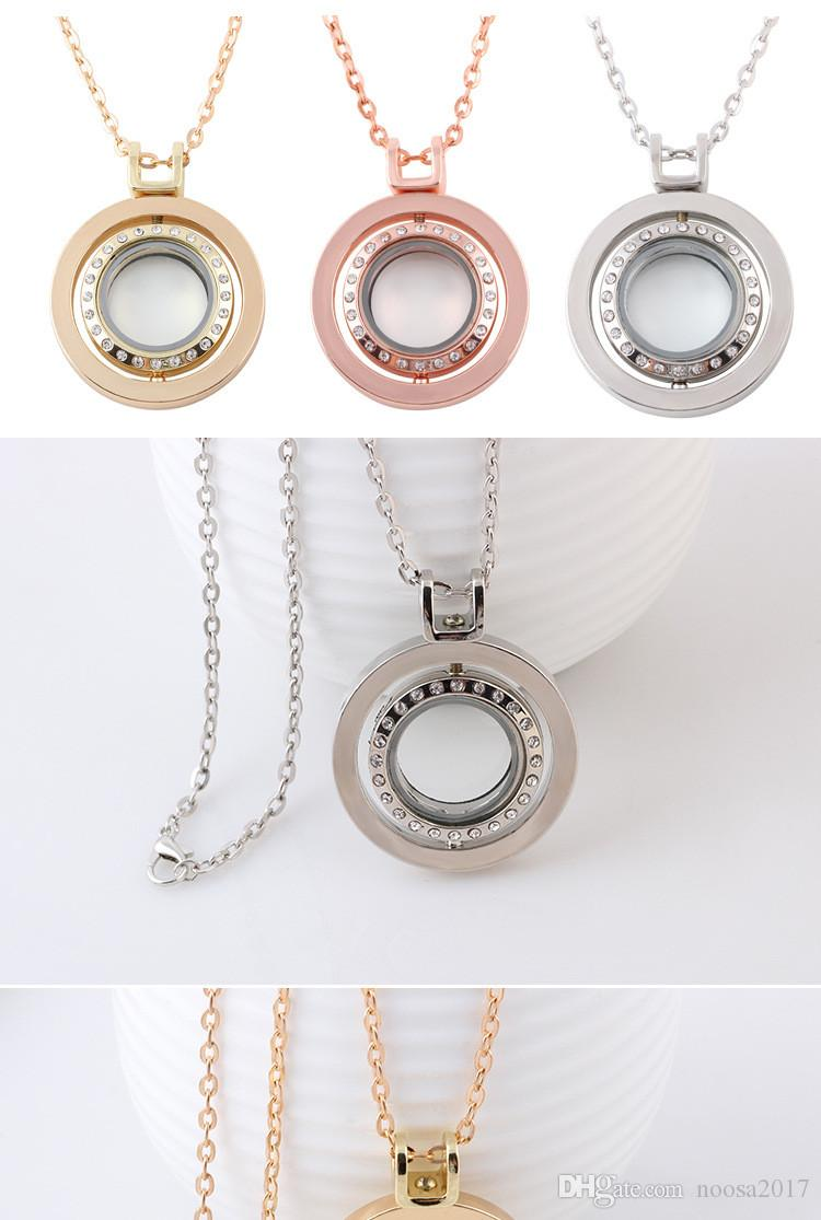 2017 NEW Jewelry 65cm Long sweater chain With Full diamond Crystal floating lockets Pendants For DIY locket Necklaces
