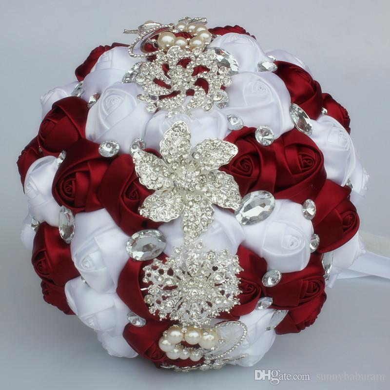 Burgund Weiß Hochzeit Bouquets Künstliche Süße 15 Quinceanera Bouquet Kristall Seidenband New Buque De Noiva 37 Farben W228-N