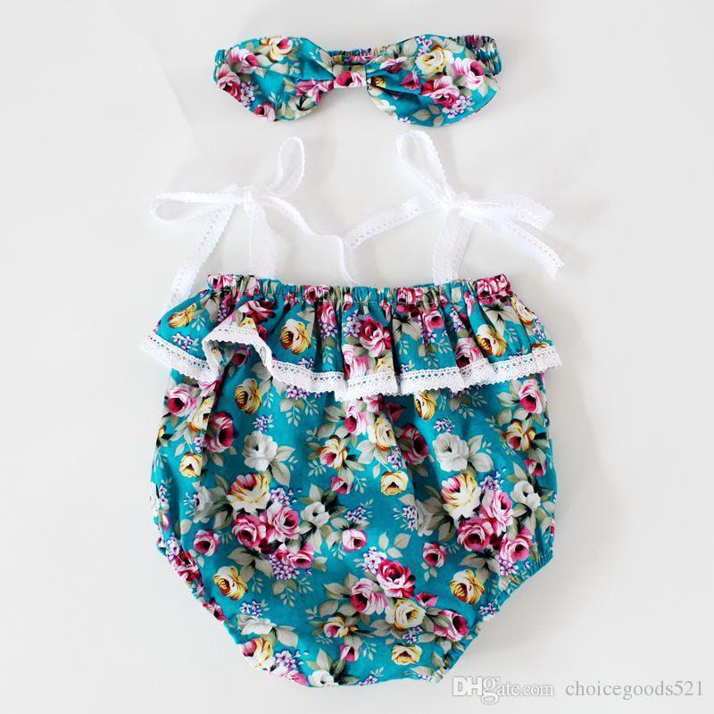 70f9f9a2d59b 2019 Floral Ruffle Baby Girls Romper Set Kids Summer Sleeveless Baby ...