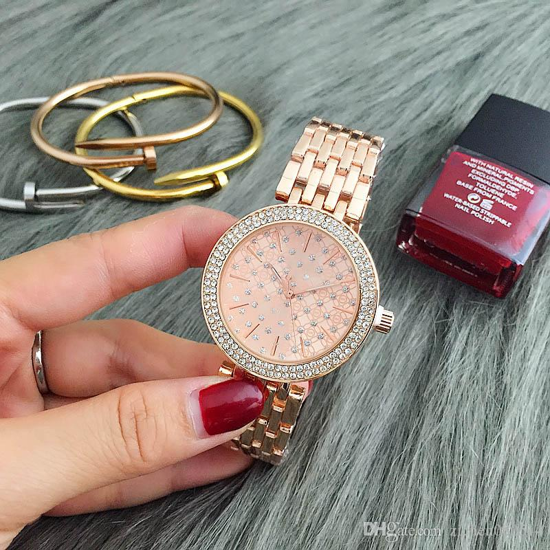 Mode M Design Marke Frauen Mädchen Kristall Zifferblatt Edelstahl Band Quarz Armbanduhr M6056-3