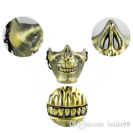 Plastic Horror Skull Jaw Mask Terror Mezza faccia Shied Scheletro umano Warrior Ghost Mask Halloween Party