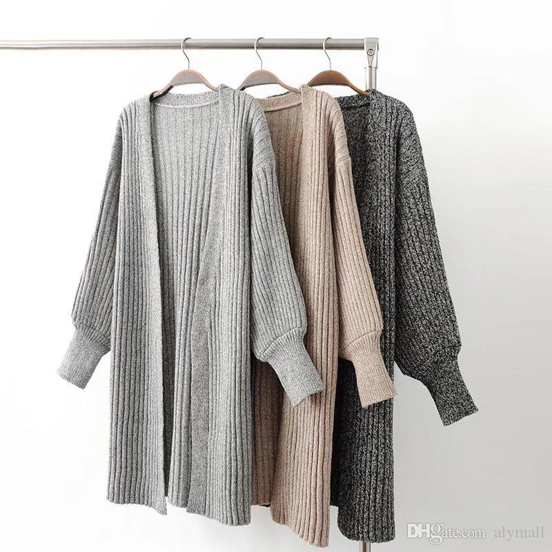 357f6216515 2019 Womens Sweaters Large Cardigans Coats Lady Fashion New V Neck Solid  Long Cardigans Women Knitwear From Alymall