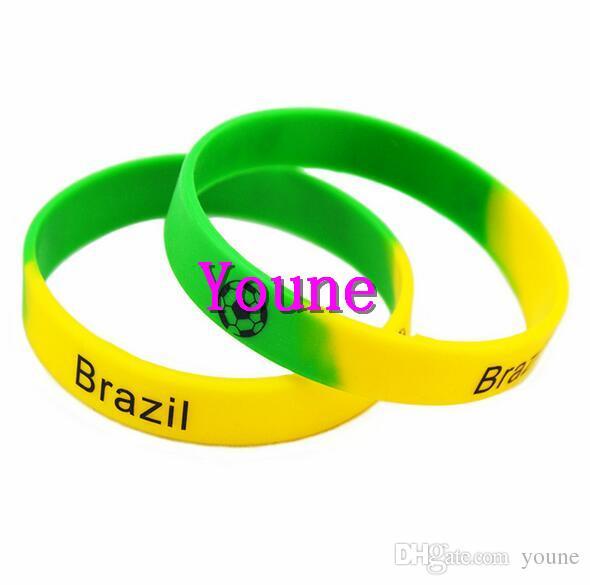 Chaud! Bracelet de bracelet de silicium imprimé de conception de mélange de pour l'équipe de football France, Brésil, Espagne et Portugal