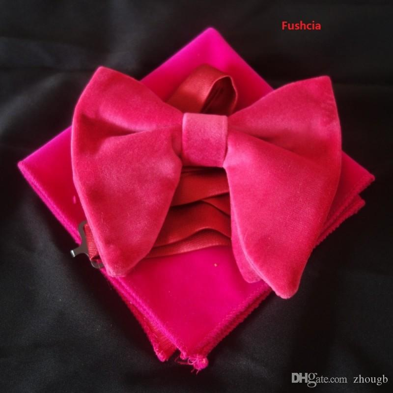 2018 Hot Black Velvet Bowties with Matching hankie Mens Unique Tuxedo Velvet Bowtie Bow Tie Hankie Set Necktie Set
