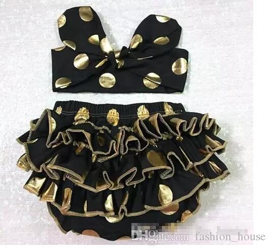 Girls Bloomers Headbands Set Baby Gold Polka Dot Hairband Ruffled Shorts Infant Boutique Diaper Covers Toddler Cotton Pants Underwear A 080