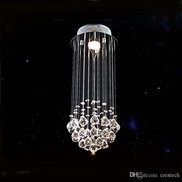 Modern K9 Crystal Chandelier Chain Lighting Spiral Drop Chandeliers Stair Lights For Staircase Outdoor Large