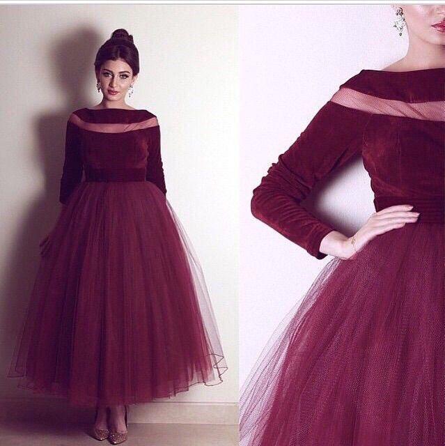 2017 arabisch afrikanischen burgund prom kleider sheer neck kurze abendkleider abendkleider mit langen ärmeln samt frauen tragen vestidos arabisch
