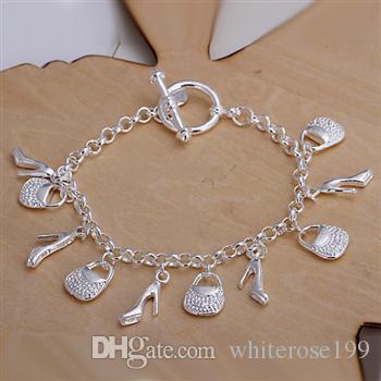 Hurtownie - Detaliczna Najniższa cena Christmas Gift, Darmowa Wysyłka, Nowa 925 Silver Moda Bransoletka B79