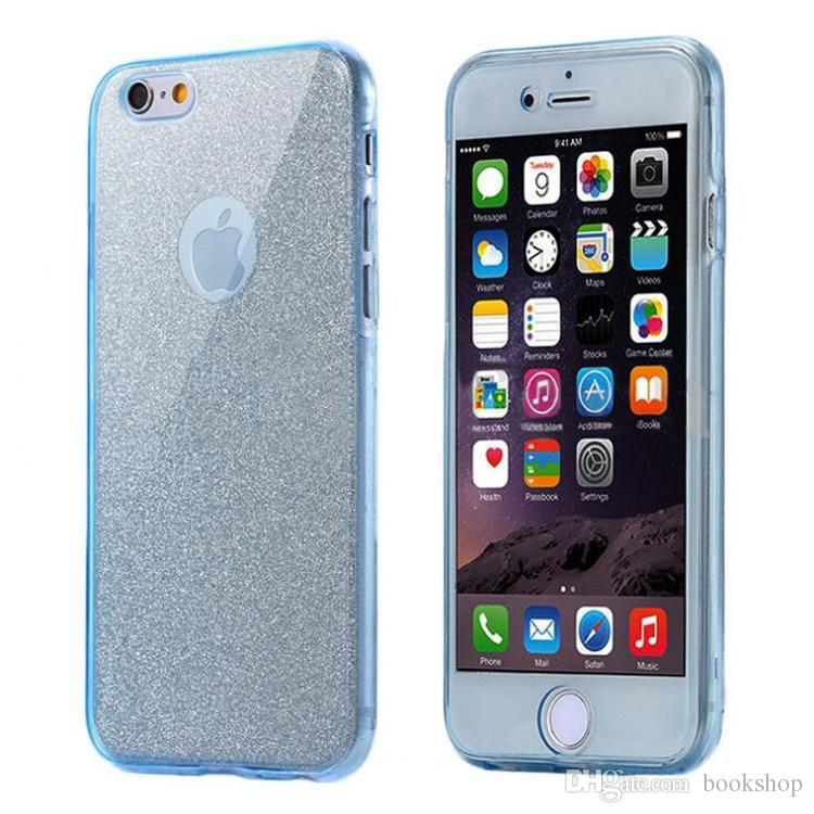 360 Degree Full Body Coverage TPU Colorful Phone Cases For Iphone6 6plus 7 7 Plus Frosted Glittered Diamond Back Cover