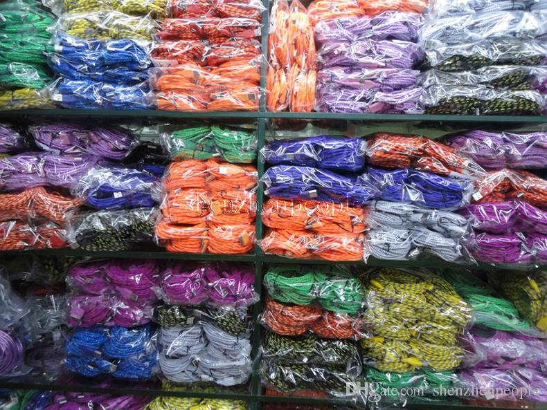 Colorful Fabric Braided V8 Micro USB Charger Cable Adapter 1M 3FT 2M 6FT 3M 10FT Data Sync Nylon cord for Mobile cell phone