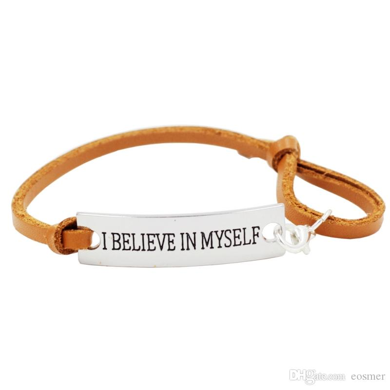 I Believe In Myself Self-mot Adjustable Leather Inspirational Silver Leather Inspirational Bracelet With Encouragement Quote Words Gifts For