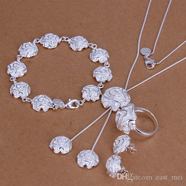 bestes Geschenk Rosen-Sterlingsilber überzogener Schmucksatz für Frauen ES270, Halsketten-Armbandohrringsatz der Art und Weise 925 Silber