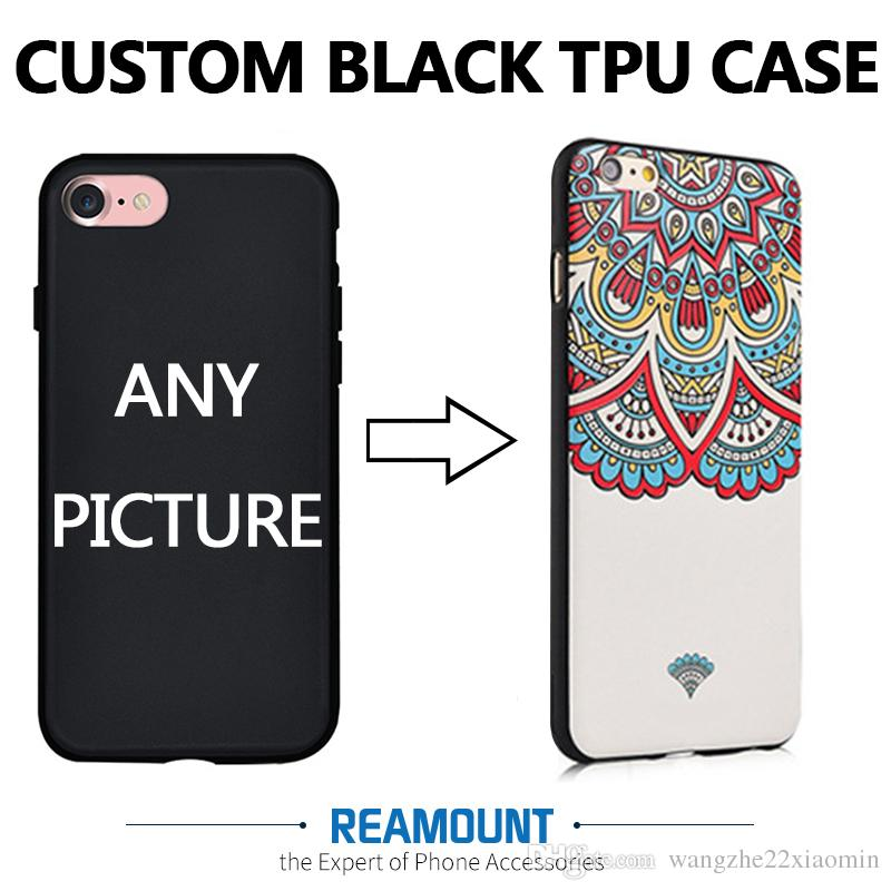 the latest 2da12 99a6f DIY Custom Printed Brand Name & Picture Black TPU Smart Phone Back Cover  for iphone 7 7plus for iphone 6 6plus Cell Phone Case