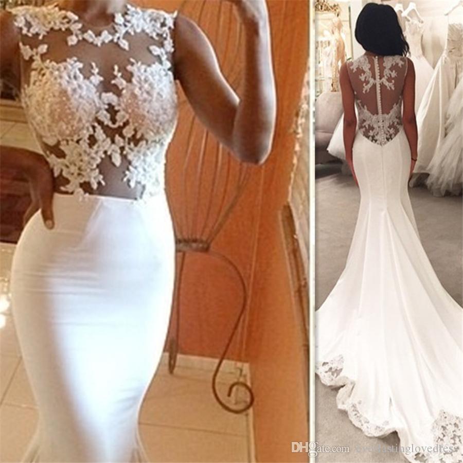 Vestidos De Casamento Africano Ilusão Ver Através De Vestidos De Noiva Sexy Sereia Vestido De Noivas Custom Made