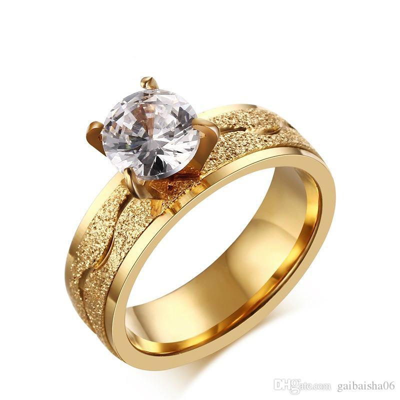 Grosshandel Trendy Bijoux Frauen Verlobungsringe Edelstahl 4 Prong
