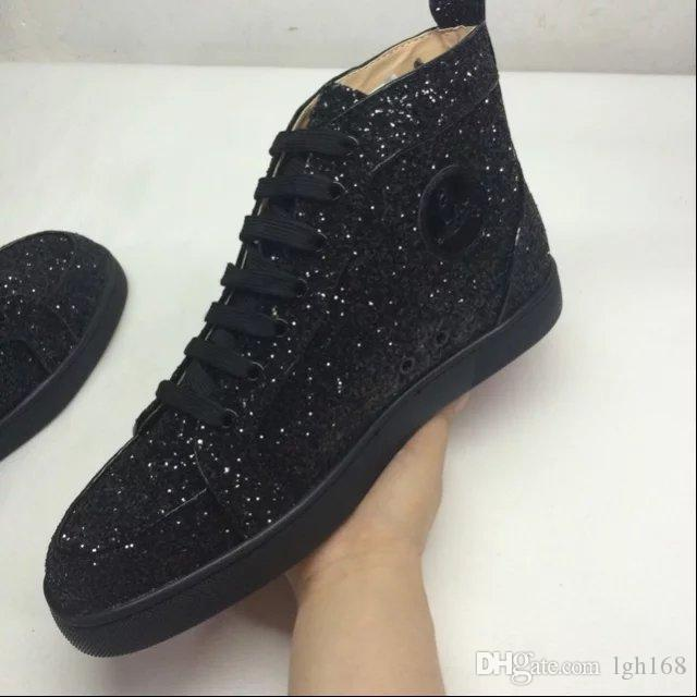 2018 Men Women Shoes Colorful Glitter Genuine Leather Black Fashion Red  Bottom Sneakers High Top Brand Shoes 35 46 Munro Shoes Pink Shoes From  Lgh168 d06af4c1650f