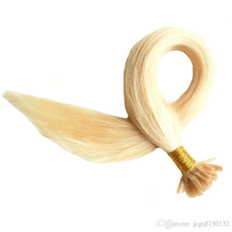 Блондинка бразильский U Tip наращивание волос человека кератин Бонд волос extensio 100s 613 отбеливатель блондинка fusion человеческих волос extensions 100g