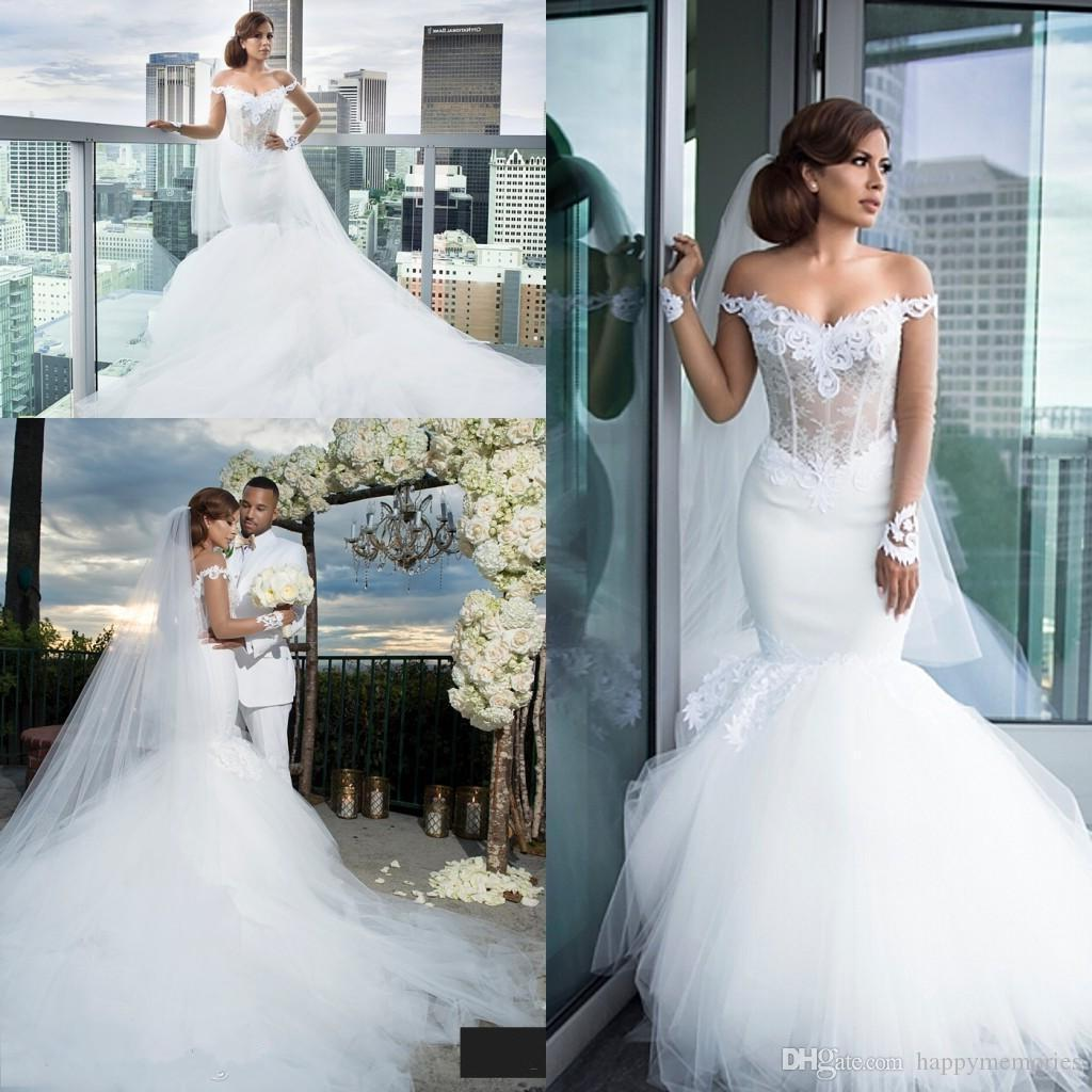2017 gorgeous mermaid wedding dresses tiered tulle ruffles 2017 gorgeous mermaid wedding dresses tiered tulle ruffles backless off shoulder lace wedding gowns cathedral train vestidos de novia bridal sexy wedding junglespirit Choice Image