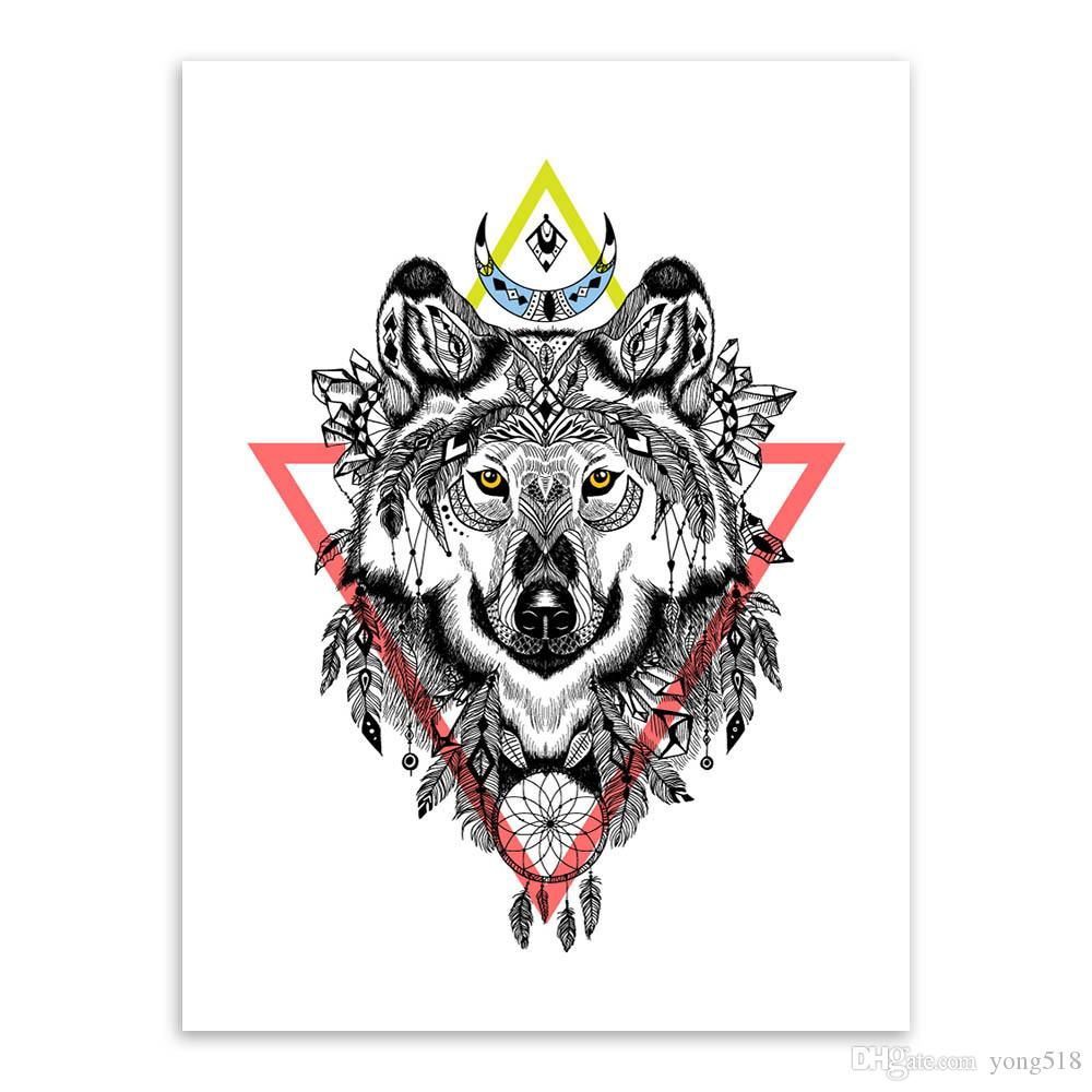 Modern Vintage Retro Black White Deer Lion Head Animal Canvas Painting Dream Catcher Animal Poster Wall Pictures For Living Room