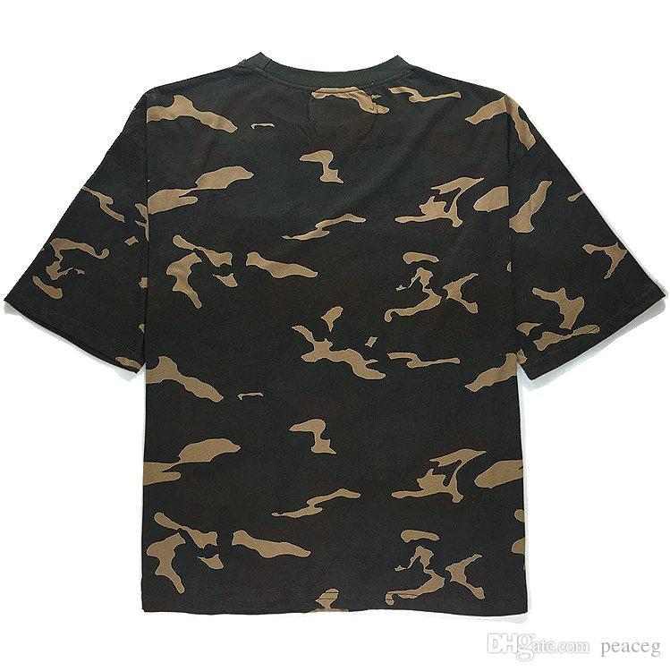 Kanye West T shirt Fashion Season short sleeve Camouflage green tees Leisure clothing Unisex cotton Tshirt