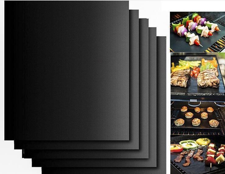 바베큐 그릴 라이닝 바베 큐 구리 그릴 매트 휴대용 비 스틱 및 재사용 가능한 쉽게 굽고 만들기 33 * 40 CM 블랙 골드 오븐 뜨거운 번호판 매트