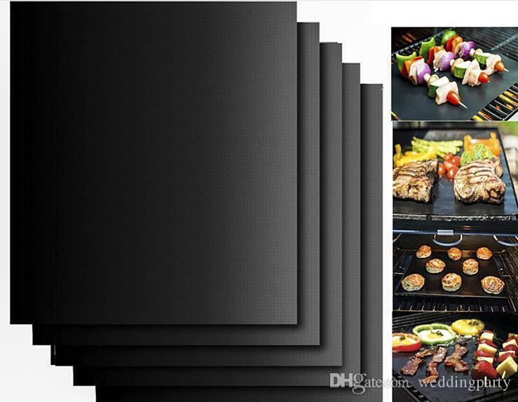 Barbecue Grilling Liner BBQ Copper Grill Mat Portable Non-stick and Reusable Make Grilling Easy 33*40CM Black Gold Oven Hotplate Mats