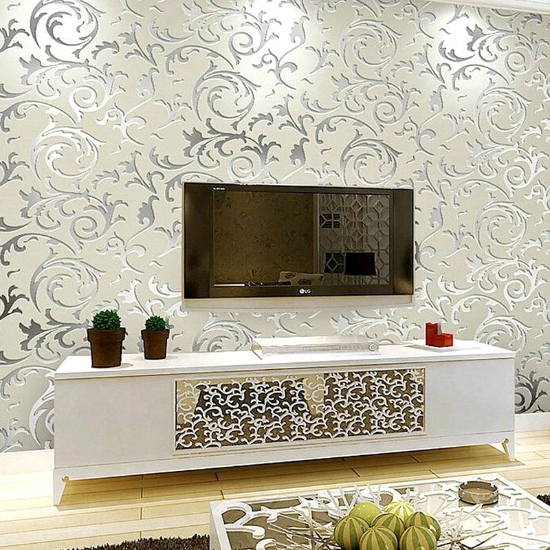 Wallpaper For Living Room 2017 wholesale european luxury silver damask wallpaper roll modern 3d