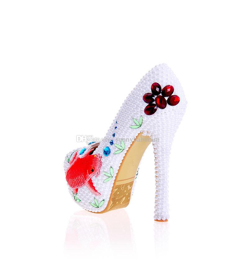 Luxury White Pearl Women High Heels with Gold Fish Cinderella Shoes Wedding Bridal Bridesmaid Shoes Prom Evening Night Club Party Super High