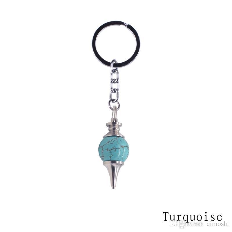 2017 pierre naturelle boule de cristal pendule porte-clés accessoires porte-clés Turquoise Lapis lazuli pour les femmes printemps sac charme