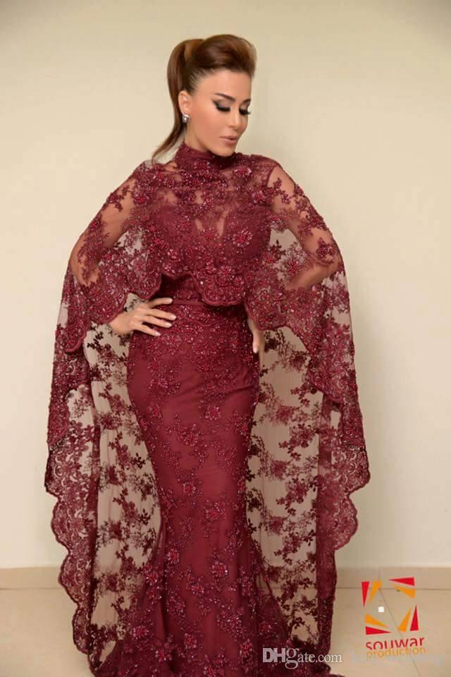 New India Style Evening Dresses Lace Cape Sexy Spaghetti Prom Bridesmaid Gowns Sheath Arabic Beads Women's Formal Dress for Party Prom