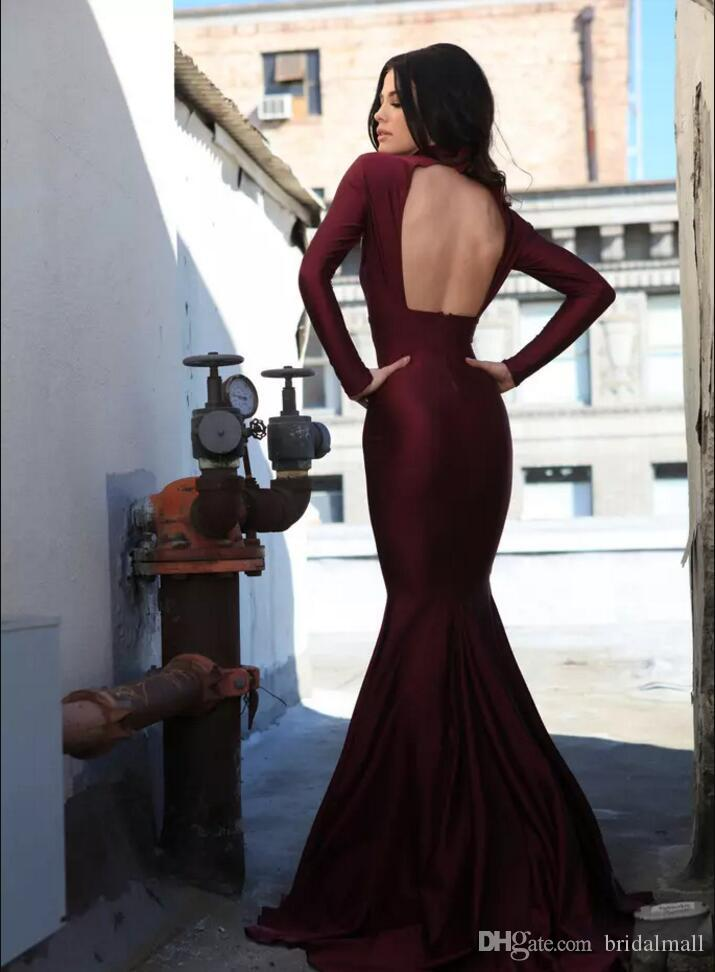 Burgundy Satin Long Sleeve African Prom Dresses 2020 High Neck Sexy Formal Evening Dresses Backless Long Pageant Party Gowns Robes de soirée