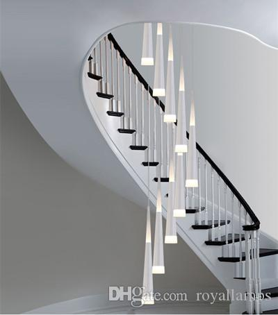 Etonnant Long Stairway 9 Led Pendant Lights Spiral Led Stair Lighting Pendant Lamps  Stairwell Lustre Art Studio Modern Led Cone Luminaria Glass Pendant Lamp  Hanging ...
