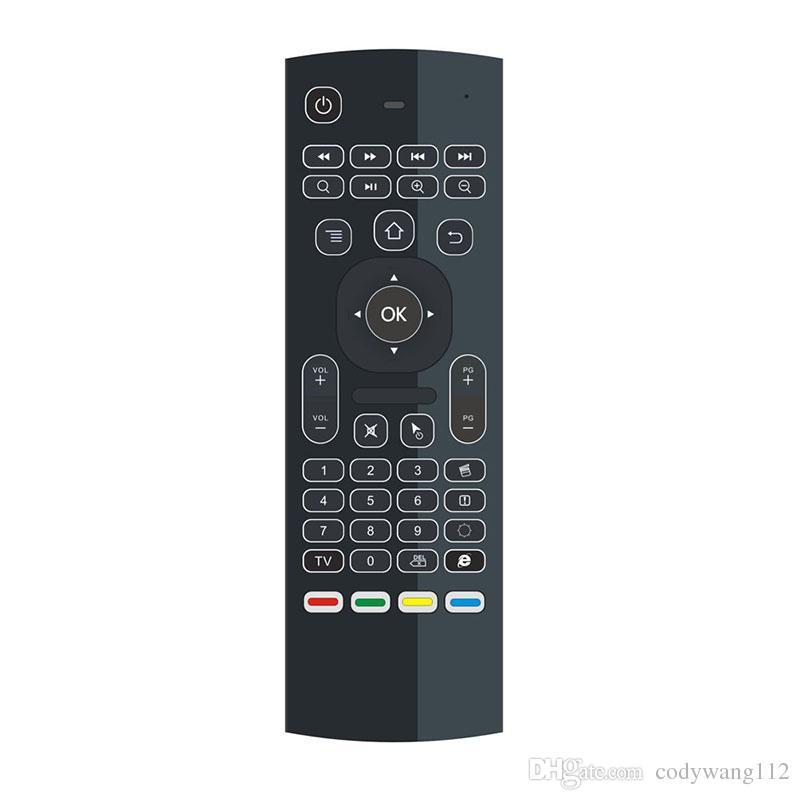 MX3 Rétro-éclairage clavier sans fil avec IR d'apprentissage à distance 2.4G sans fil de contrôle Fly Air Mouse rétroéclairées MXQ PRO T95M X96 Android TV Box PC