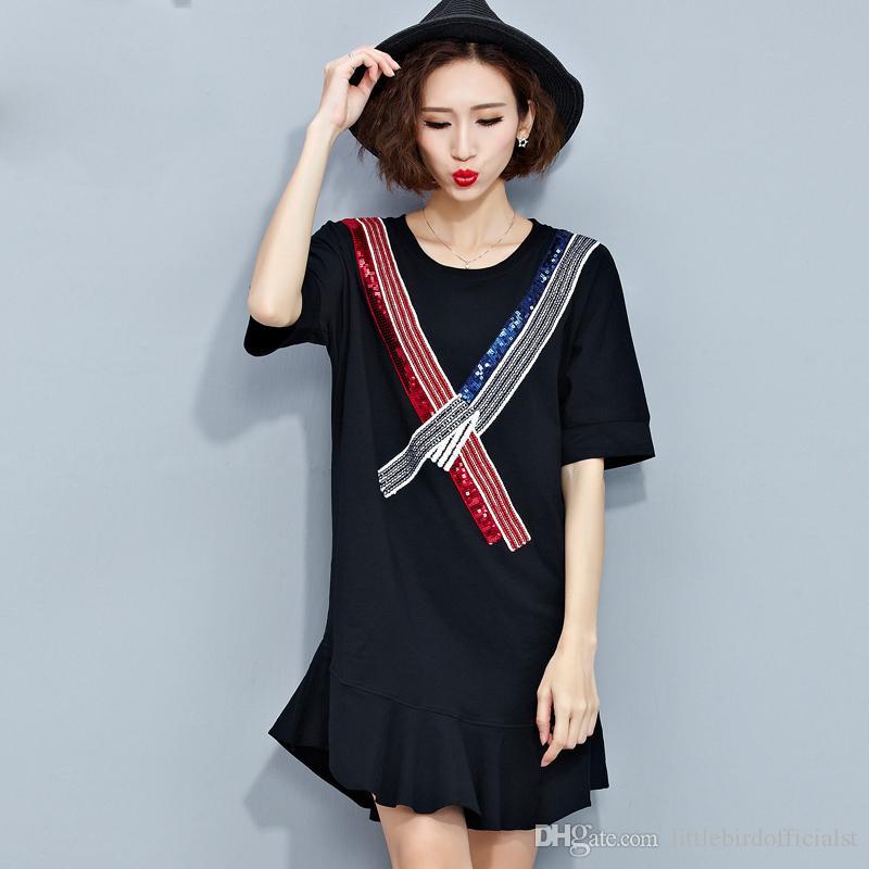 3a490316760 Acheter Femmes Summer Style T Shirt Coton Robe Casual Topstees Patchwork  Femme Sequin Imprimer Mode Noir Show Thin Lady Tshirt De  25.13 Du ...