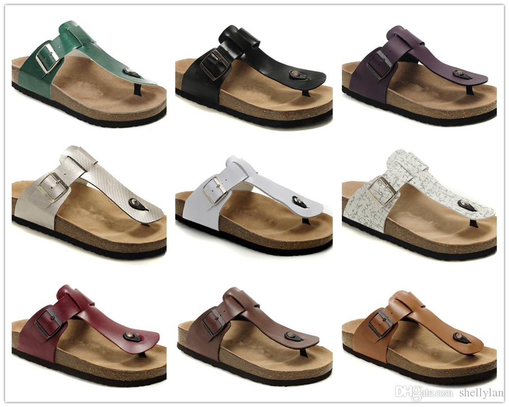 503ab7a678ce Famous Brand Medina Men Women Summer Flat Heel Flip Flops Sandals Classcis  Buckle Comfortable Travel Casual Shoes Genuine Leather Slippers Ladies  Footwear ...
