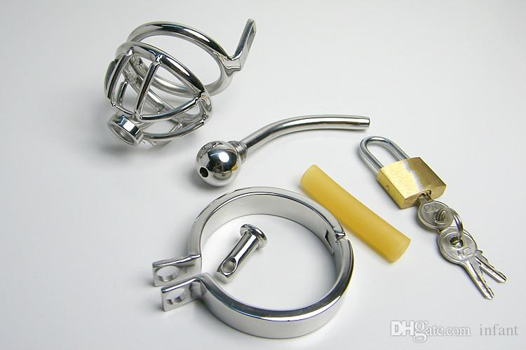 Male chastity belt, 922S male stainless steel chastity with catheters, cock cages with a lock chastity devices for men