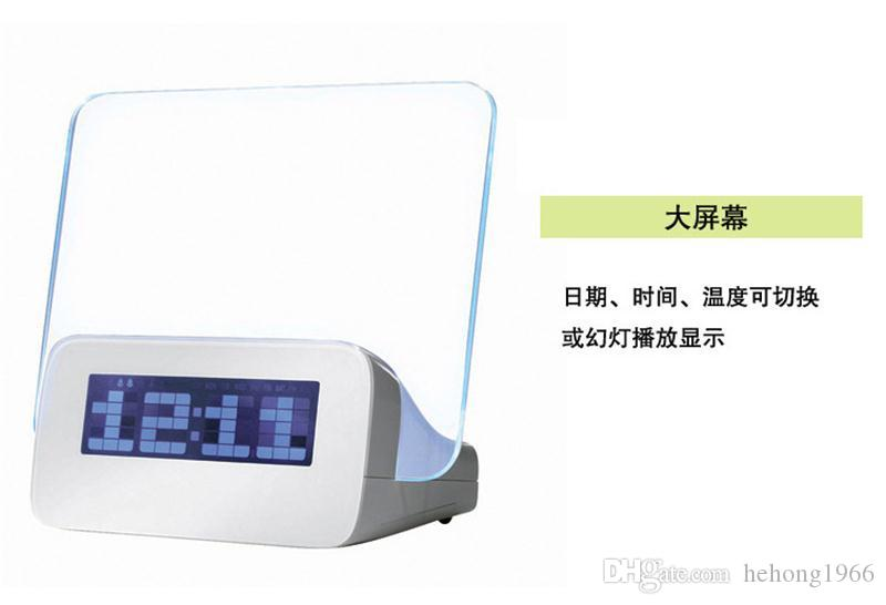 Table Clocks LED Light Digital Luminous Fluorescent Plate Hand Written Message Board Alarm Clocks USB Electronic Originality 30lz A R