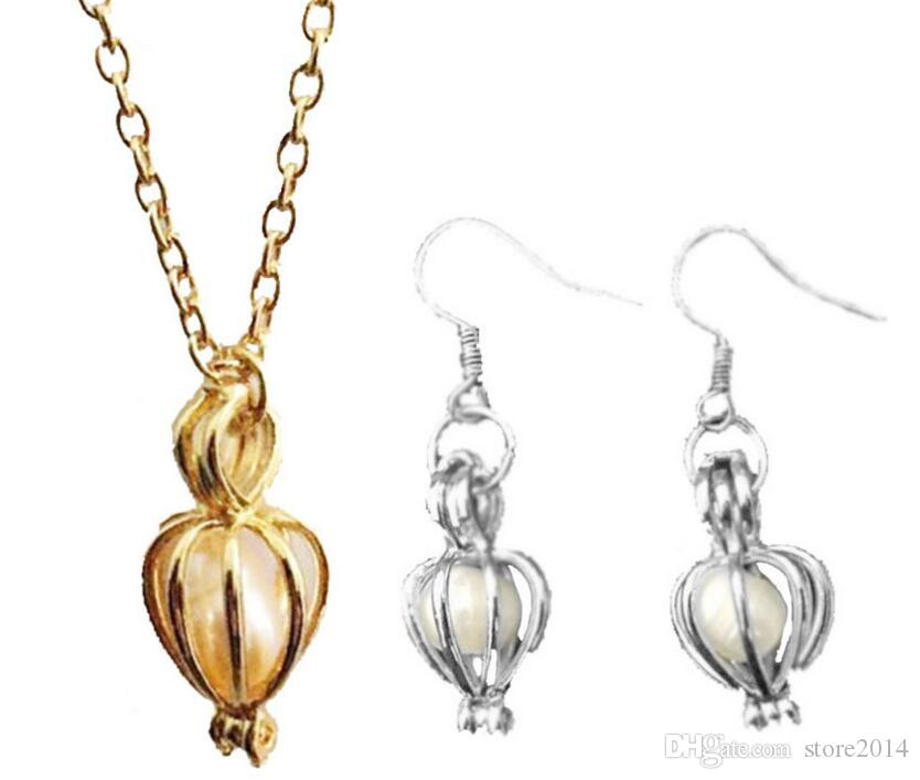 Hot Sale Love Wish Pearl Cages Locket Pendant Jewelry Sets Freshwater Pearls Oyster Pendant Earrings & Necklace SetsExcluding Pearl Canned